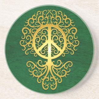 Árbol amarillo y verde de la paz posavasos manualidades