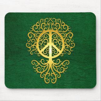 Árbol, amarillo y verde de la paz tapete de ratón