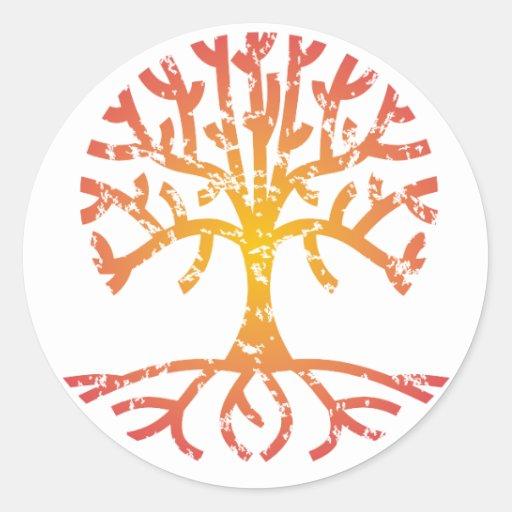 Árbol apenado IV Pegatina Redonda