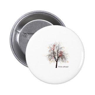 Árbol ateo pin redondo de 2 pulgadas