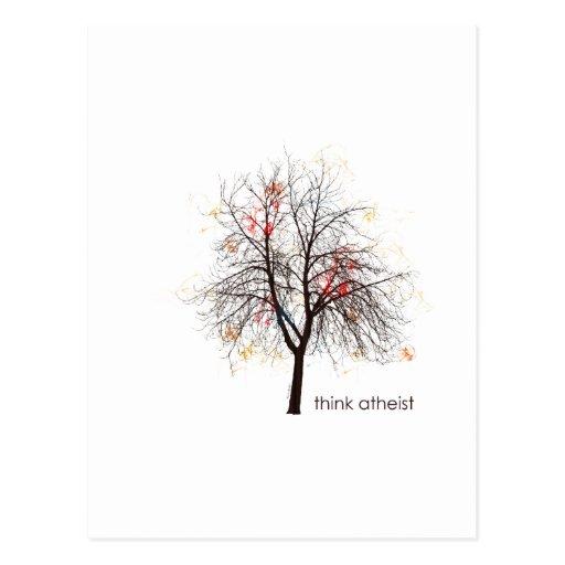 Árbol ateo tarjetas postales