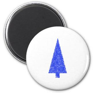 Árbol azul. Árbol de navidad imperecedero del abet Imán Redondo 5 Cm