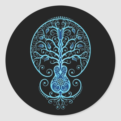 Árbol azul de la guitarra de la vida en negro pegatina redonda