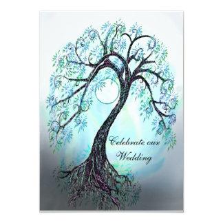 Árbol azul de la invitación del boda de la vida