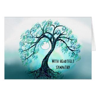 Árbol azul de la tarjeta de condolencia de la vida