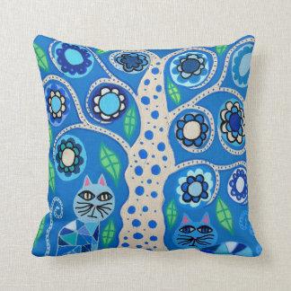 Árbol azul de los gatos del arte de la almohada de cojín decorativo