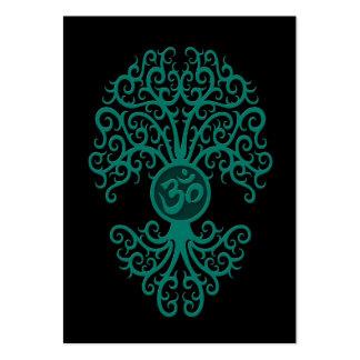 Árbol azul de OM del trullo en negro Tarjeta De Negocio