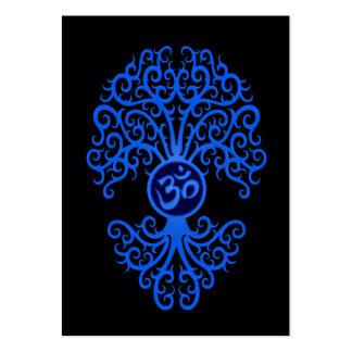 Árbol azul de OM en negro Tarjeta De Visita