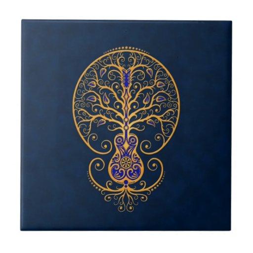 Árbol azul de oro de la guitarra de la vida tejas  cerámicas