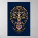 Árbol azul de oro de la guitarra de la vida impresiones