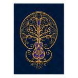 Árbol azul de oro de la guitarra de la vida plantilla de tarjeta de negocio