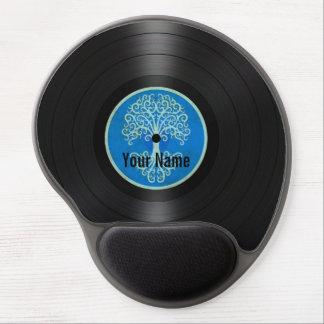 Árbol azul del disco de vinilo personalizado de la alfombrillas de ratón con gel