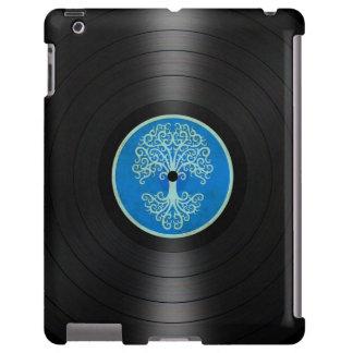 Árbol azul del gráfico del álbum de disco de vinil funda para iPad
