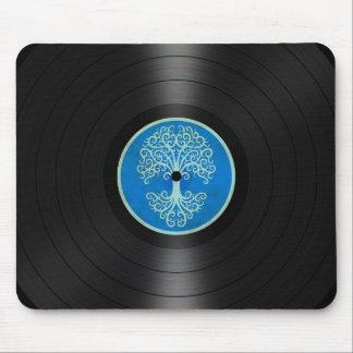 Árbol azul del gráfico del álbum de disco de vinil tapetes de raton