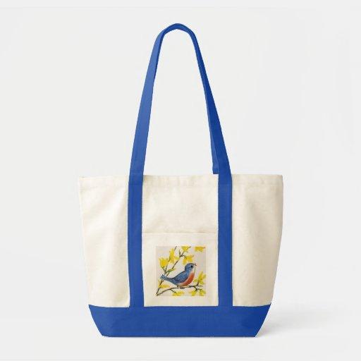 Árbol azul del pájaro del canto lindo bolsa tela impulso
