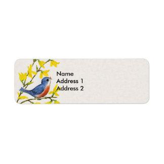 Árbol azul del pájaro del canto lindo etiqueta de remitente
