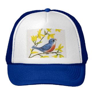 Árbol azul del pájaro del canto lindo gorros bordados