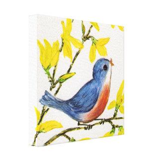 Árbol azul del pájaro del canto lindo impresión en lienzo