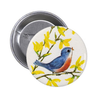Árbol azul del pájaro del canto lindo pin redondo de 2 pulgadas