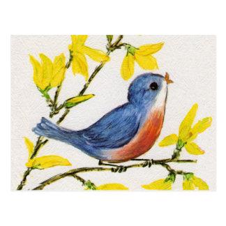 Árbol azul del pájaro del canto lindo postal
