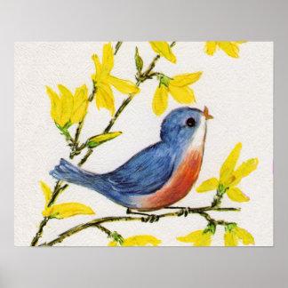 Árbol azul del pájaro del canto lindo póster