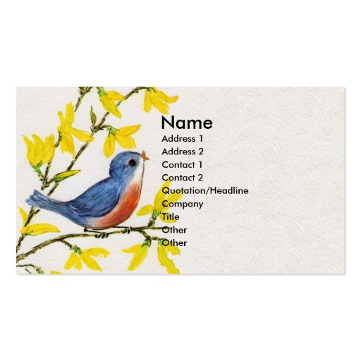 Árbol azul del pájaro del canto lindo tarjetas de visita