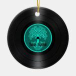 Árbol azul del trullo del disco de vinilo personal adorno de navidad