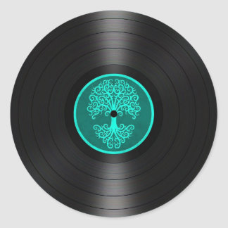 Árbol azul del trullo del gráfico del disco de pegatina redonda