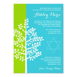 """Árbol azul del trullo verde del palo Mitzvah de la Invitación 5"""" X 7"""""""