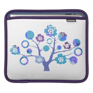 árbol azul hermoso de la caja japonesa de los flor funda para iPads