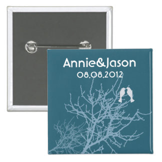 Árbol azul moderno WeddingFavor de los LoveBirds Pins