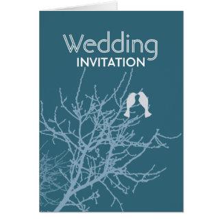 Árbol azul moderno WeddingFavor de los LoveBirds Tarjeton