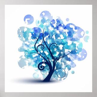 Árbol azul impresiones