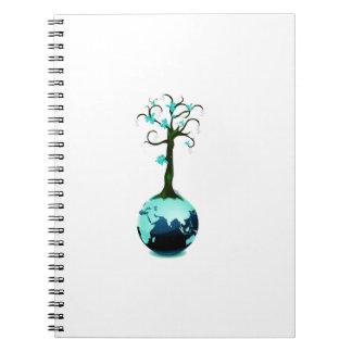 árbol azul que crece fuera del globo ecology.png libreta espiral