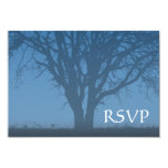 Árbol azul rústico de la barra Mitzvah RSVP de la Comunicado Personalizado