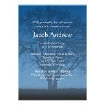 Árbol azul rústico de las invitaciones de Mitzvah