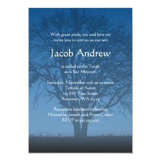 Árbol azul rústico de las invitaciones de Mitzvah Invitacion Personalizada