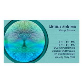Árbol azul, verde y del trullo de la vida tarjetas de visita