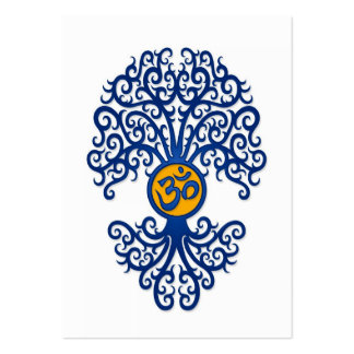 Árbol azul y amarillo de OM de la yoga en blanco Tarjeta De Visita