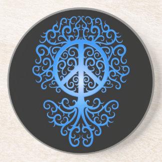Árbol azul y negro de la paz posavaso para bebida