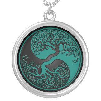 Árbol azul y negro del trullo de la vida Yin Yang Joyerias