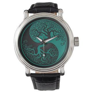 Árbol azul y negro del trullo de la vida Yin Yang Relojes De Pulsera