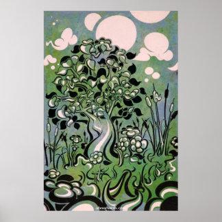 Árbol azulverde póster