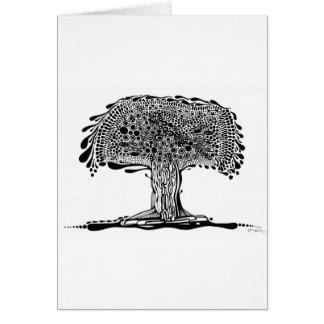 Árbol banal blanco y negro tarjeta de felicitación