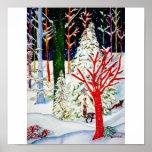 Árbol blanco/árbol rojo impresiones