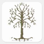 Árbol blanco de Gondor Calcomania Cuadradas Personalizadas