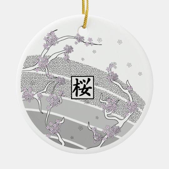 Árbol blanco de la flor de cerezo adorno navideño redondo de cerámica