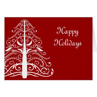 Árbol blanco en tarjeta de Navidad roja del negoci