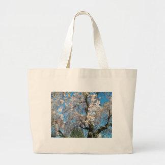 Árbol blanco, floreciente bolsa tela grande
