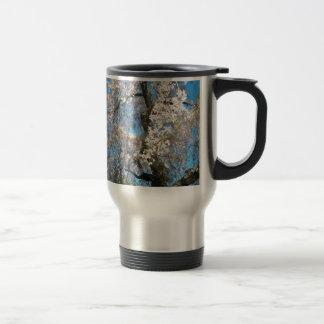 Árbol blanco, floreciente taza de viaje de acero inoxidable